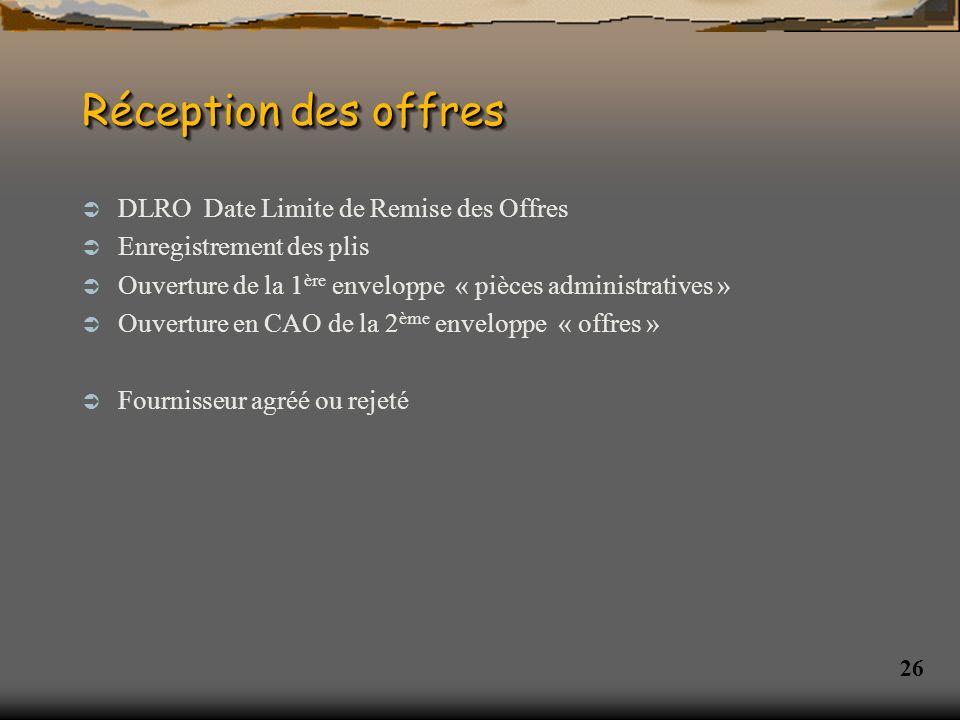 Réception des offres DLRO Date Limite de Remise des Offres