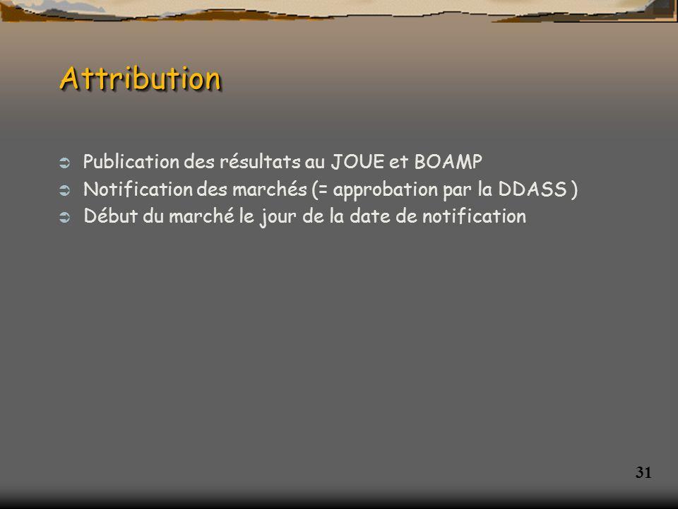 Attribution Publication des résultats au JOUE et BOAMP