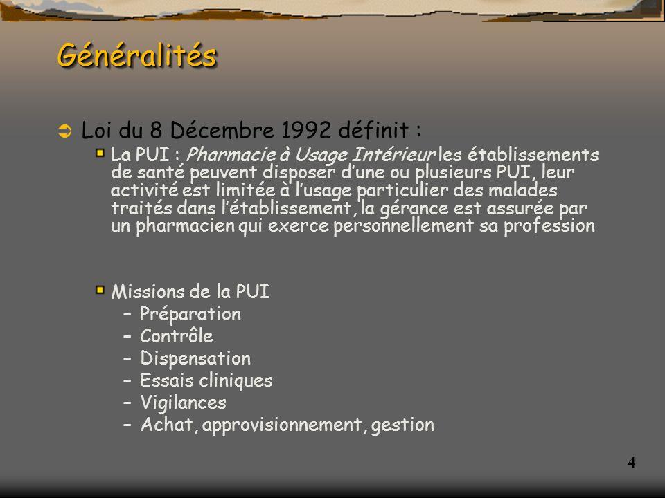 Généralités Loi du 8 Décembre 1992 définit :