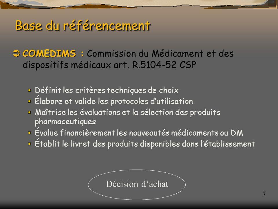 Base du référencement COMEDIMS : Commission du Médicament et des dispositifs médicaux art. R.5104-52 CSP.