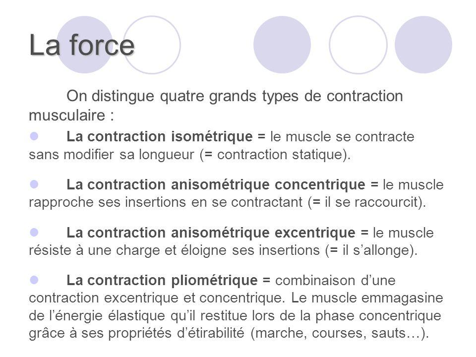 La force On distingue quatre grands types de contraction musculaire :