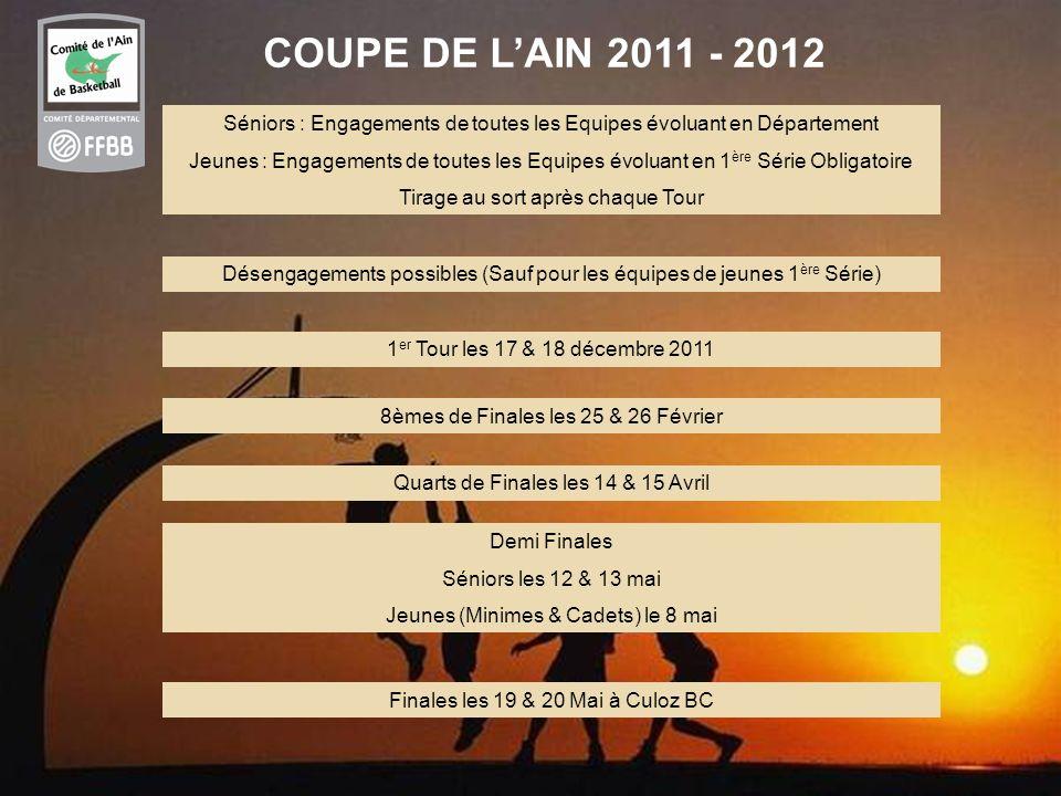 COUPE DE L'AIN 2011 - 2012 Séniors : Engagements de toutes les Equipes évoluant en Département.