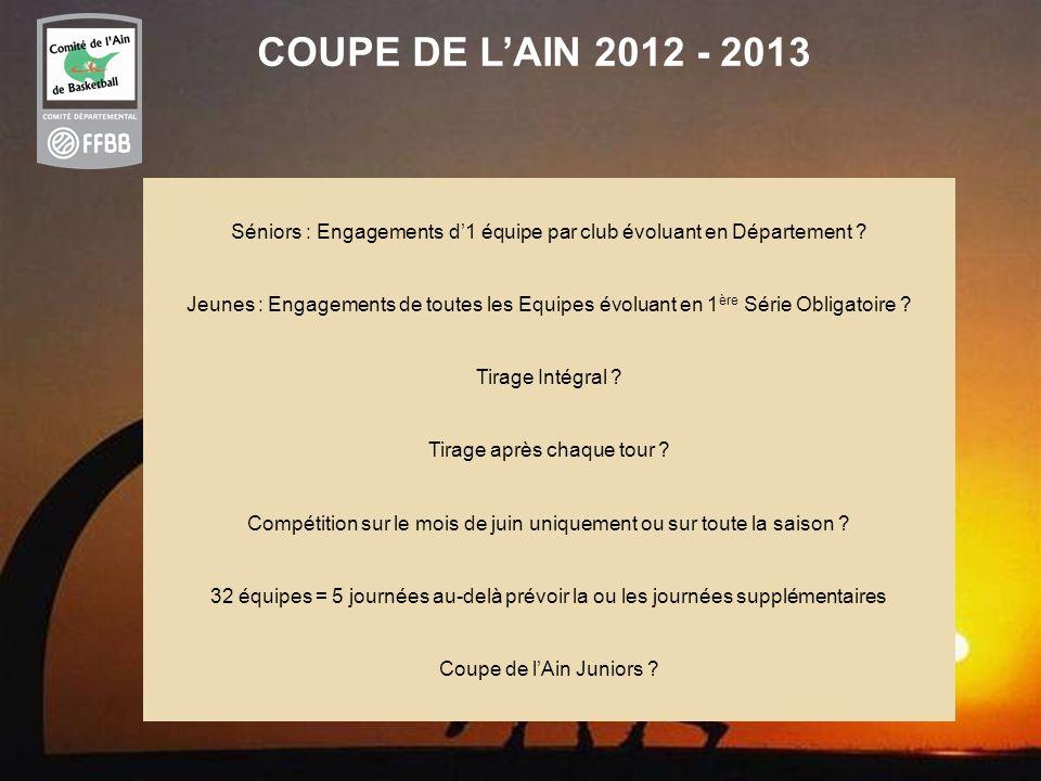 COUPE DE L'AIN 2012 - 2013 Séniors : Engagements d'1 équipe par club évoluant en Département