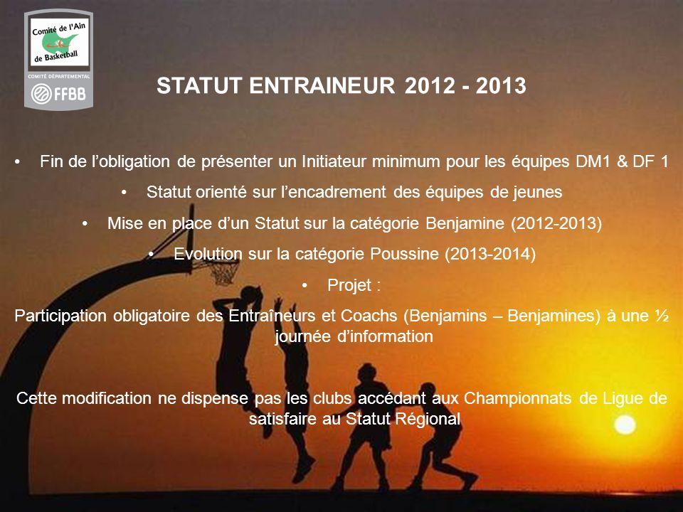 STATUT ENTRAINEUR 2012 - 2013 Fin de l'obligation de présenter un Initiateur minimum pour les équipes DM1 & DF 1.