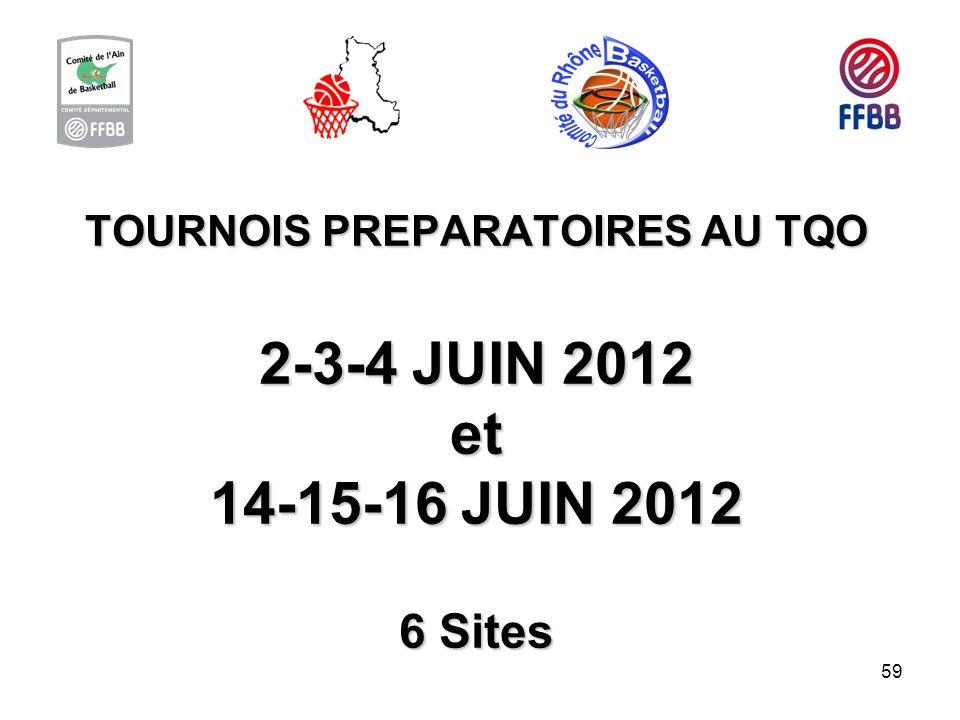 TOURNOIS PREPARATOIRES AU TQO 2-3-4 JUIN 2012 et 14-15-16 JUIN 2012 6 Sites