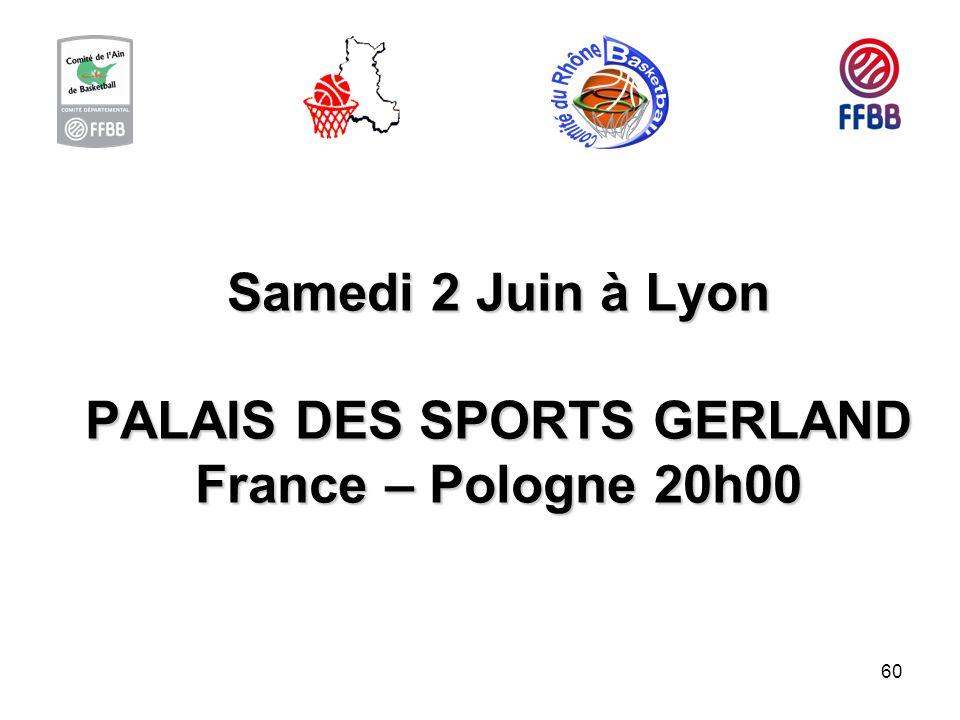 Samedi 2 Juin à Lyon PALAIS DES SPORTS GERLAND France – Pologne 20h00