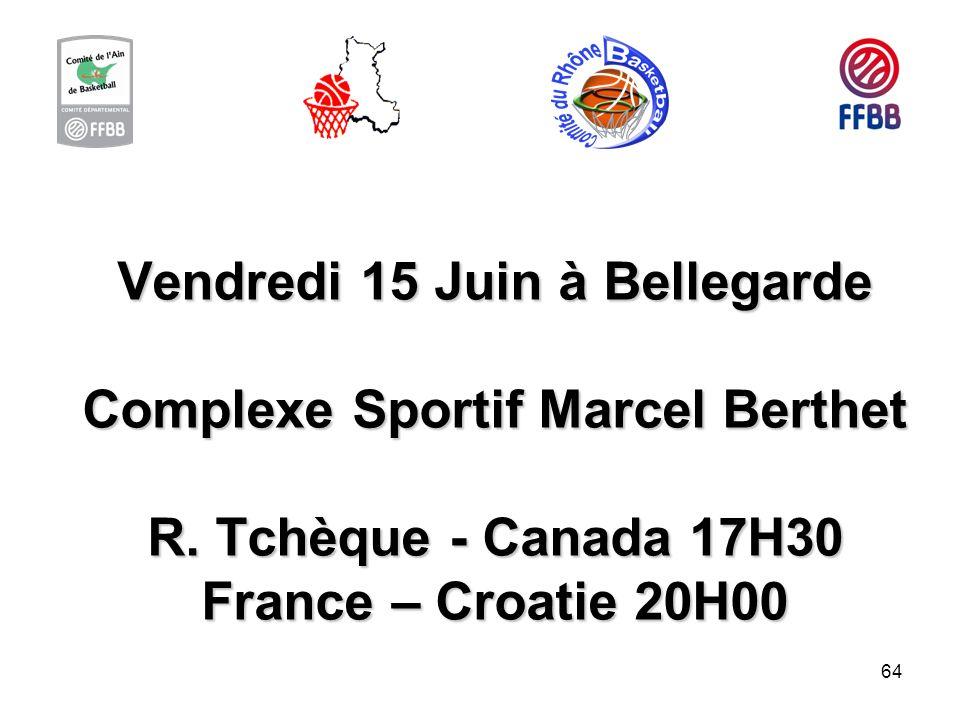 Vendredi 15 Juin à Bellegarde Complexe Sportif Marcel Berthet R