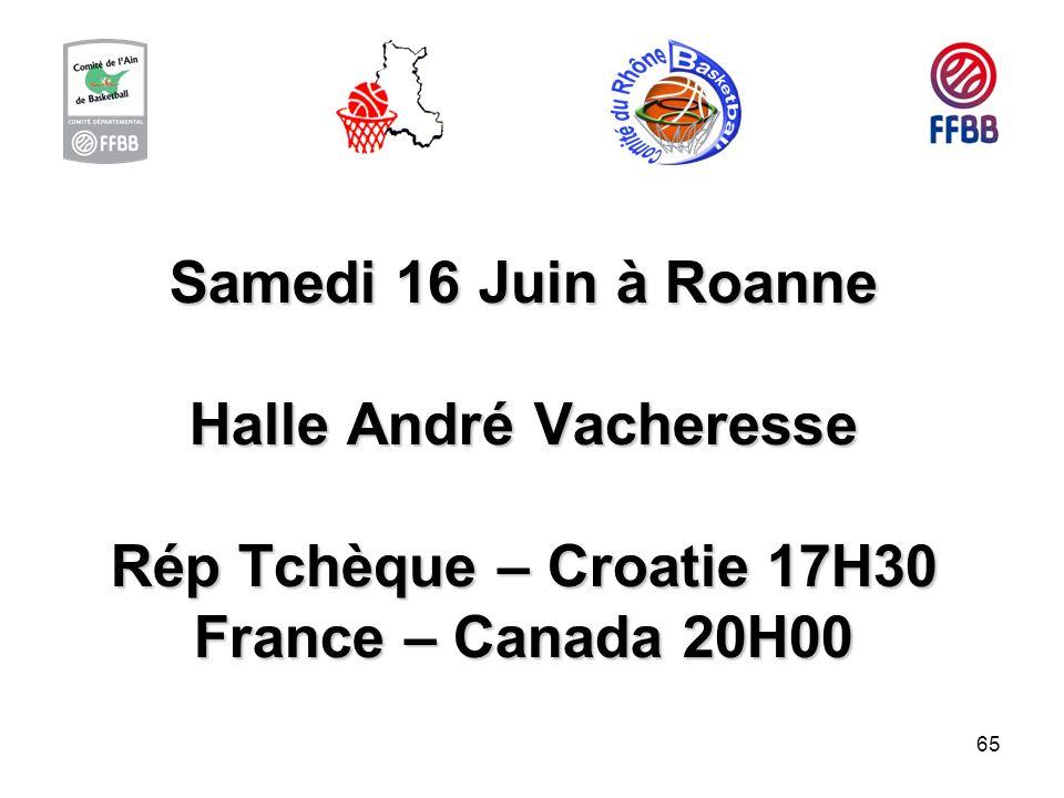 Samedi 16 Juin à Roanne Halle André Vacheresse Rép Tchèque – Croatie 17H30 France – Canada 20H00