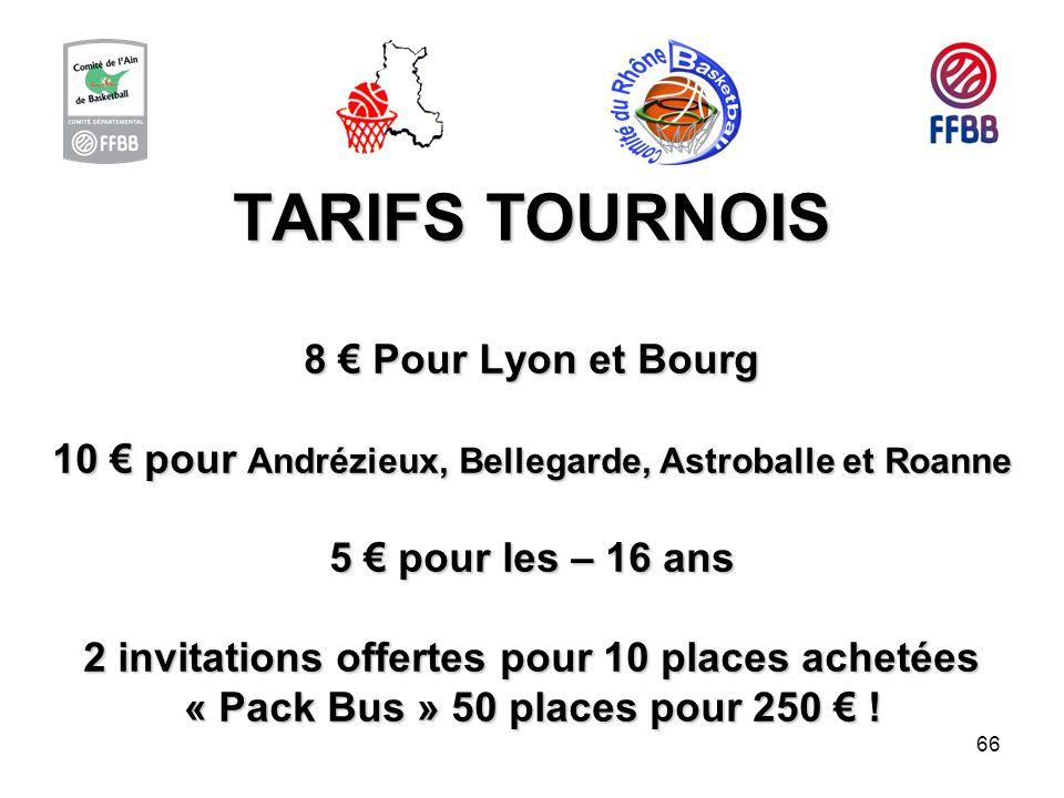 TARIFS TOURNOIS 8 € Pour Lyon et Bourg 10 € pour Andrézieux, Bellegarde, Astroballe et Roanne 5 € pour les – 16 ans 2 invitations offertes pour 10 places achetées « Pack Bus » 50 places pour 250 € !