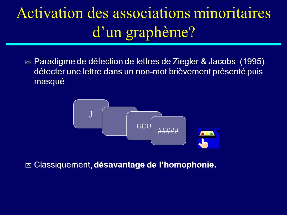 Activation des associations minoritaires d'un graphème