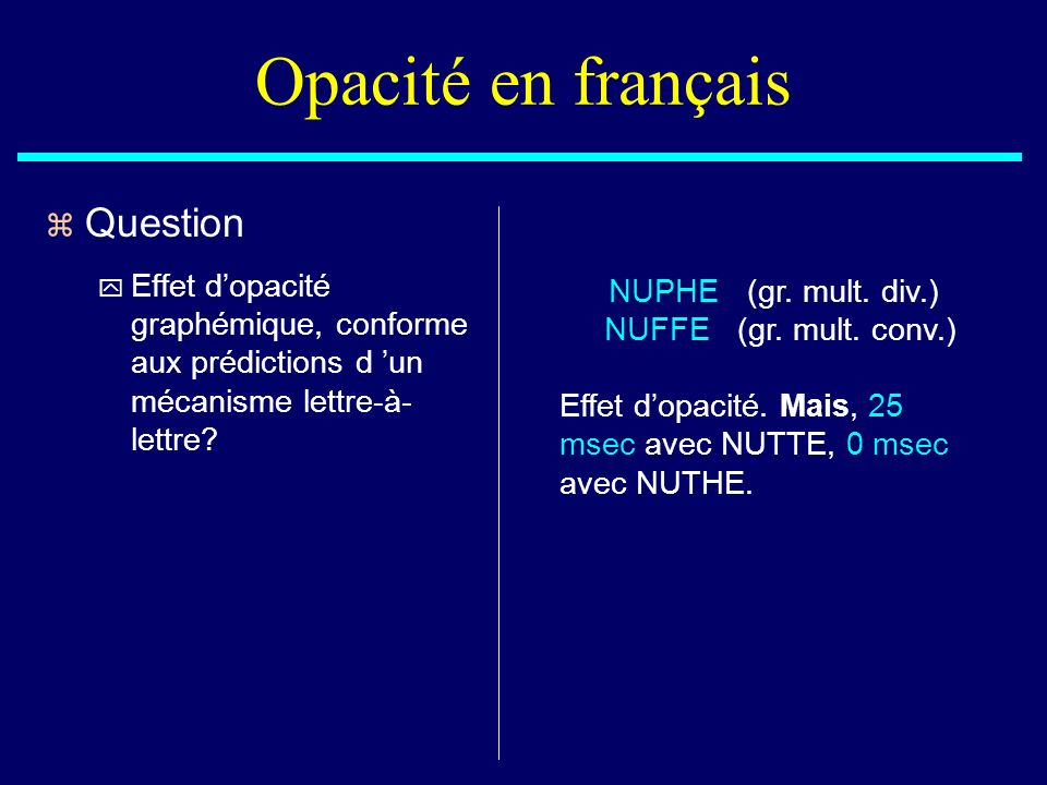 Opacité en français Question