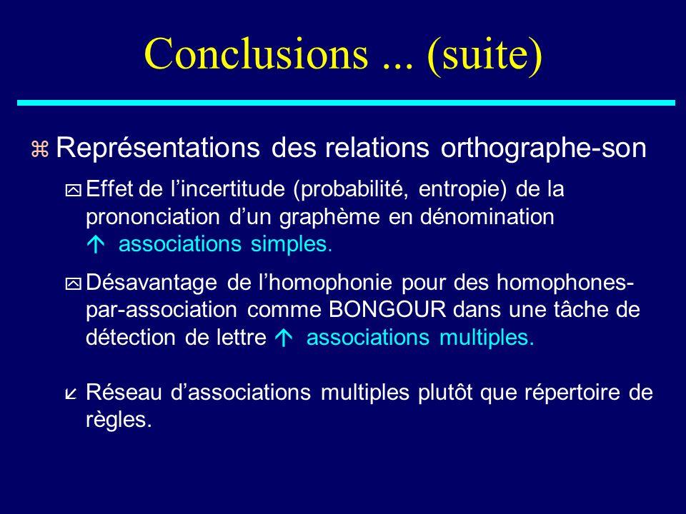 Conclusions ... (suite) Représentations des relations orthographe-son
