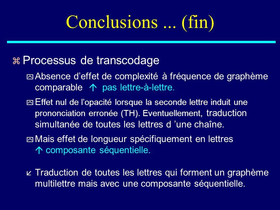Conclusions ... (fin) Processus de transcodage
