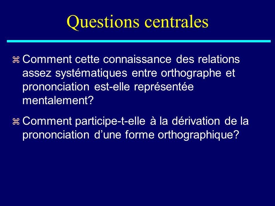 Questions centrales Comment cette connaissance des relations assez systématiques entre orthographe et prononciation est-elle représentée mentalement