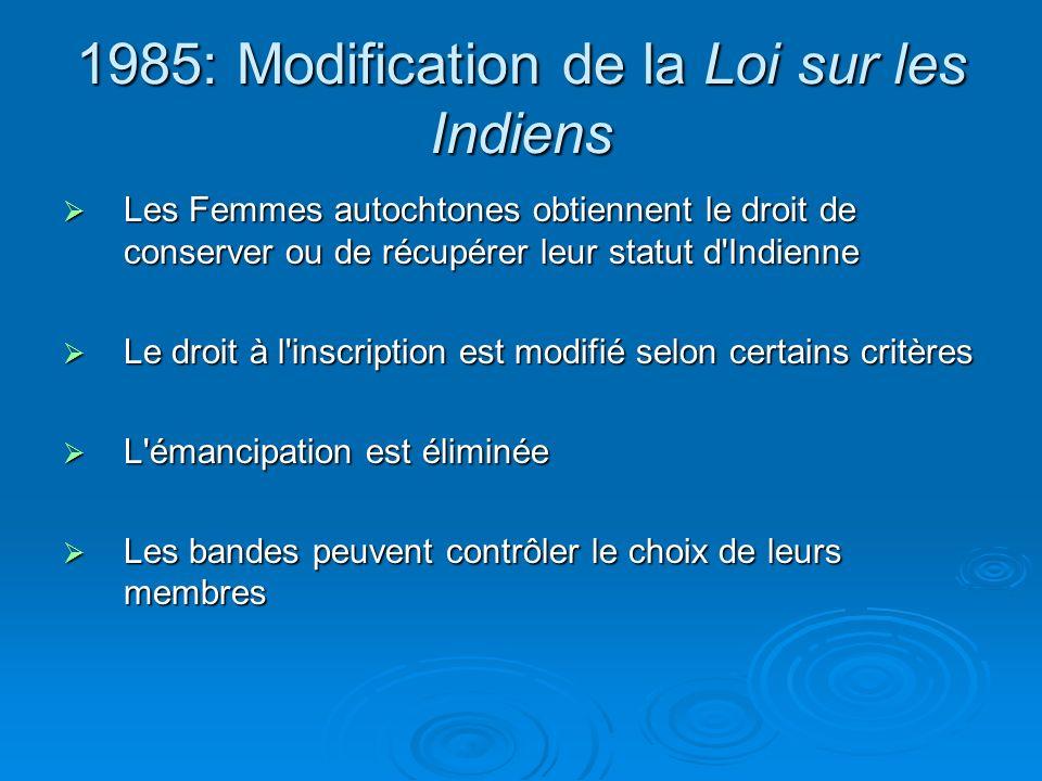 1985: Modification de la Loi sur les Indiens