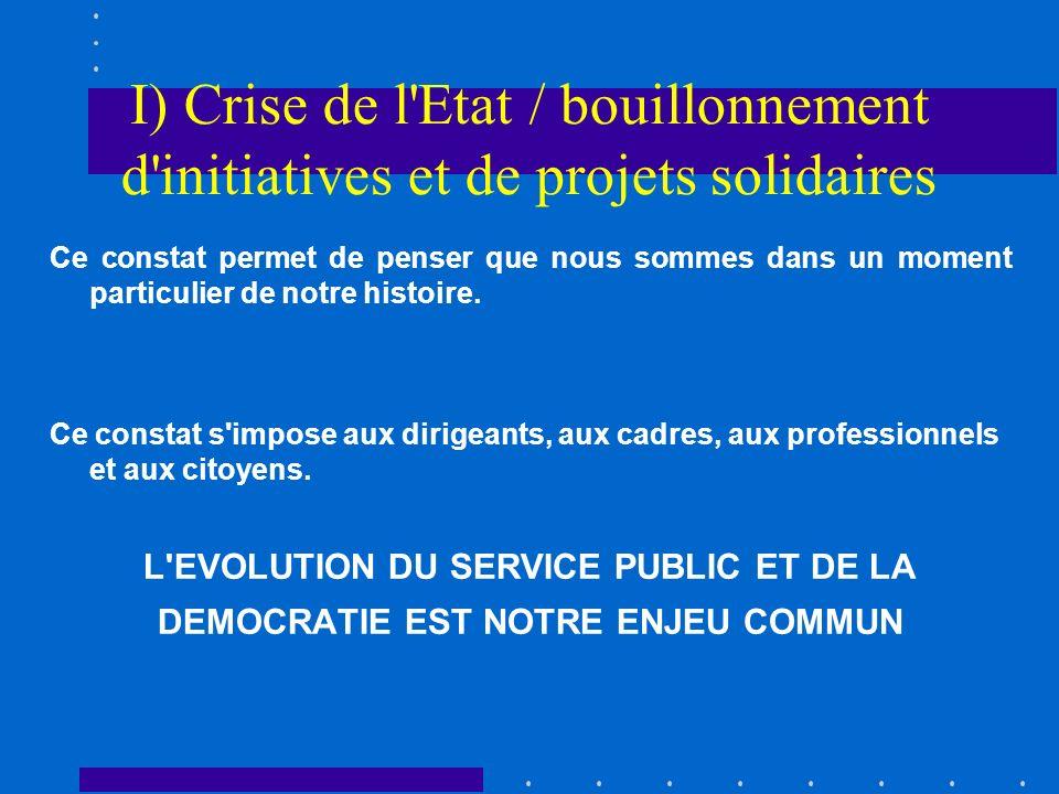 I) Crise de l Etat / bouillonnement d initiatives et de projets solidaires