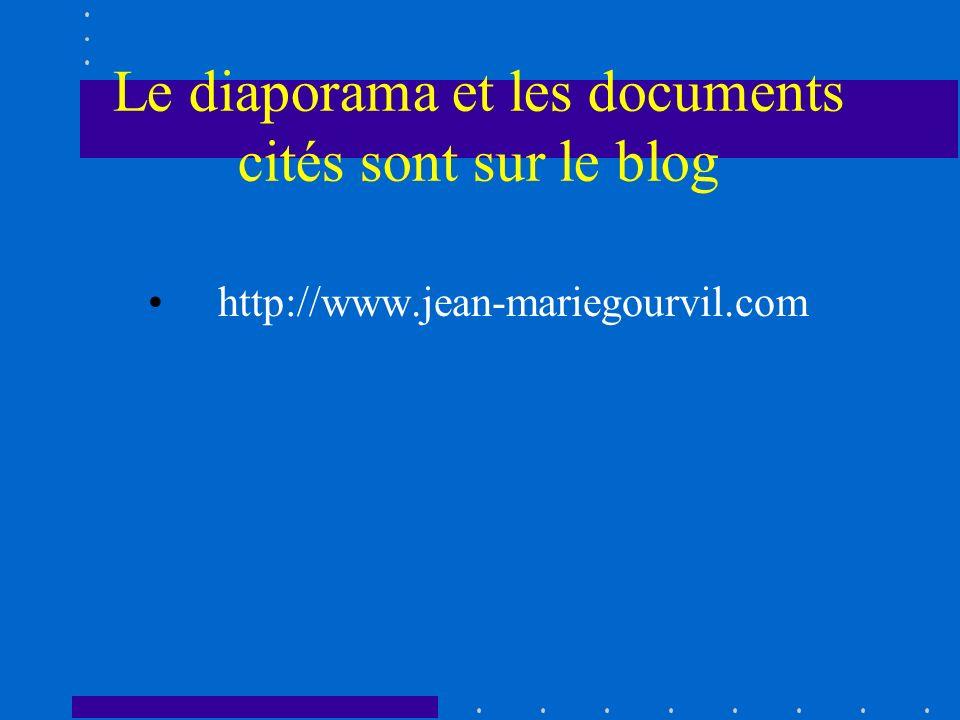 Le diaporama et les documents cités sont sur le blog