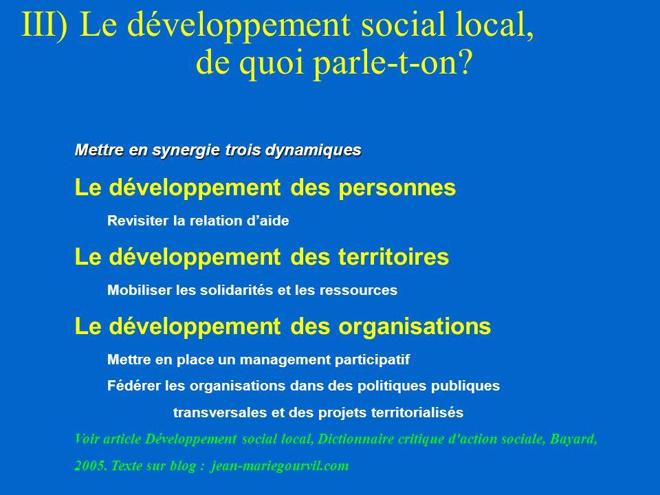 III) Le développement social local, de quoi parle-t-on