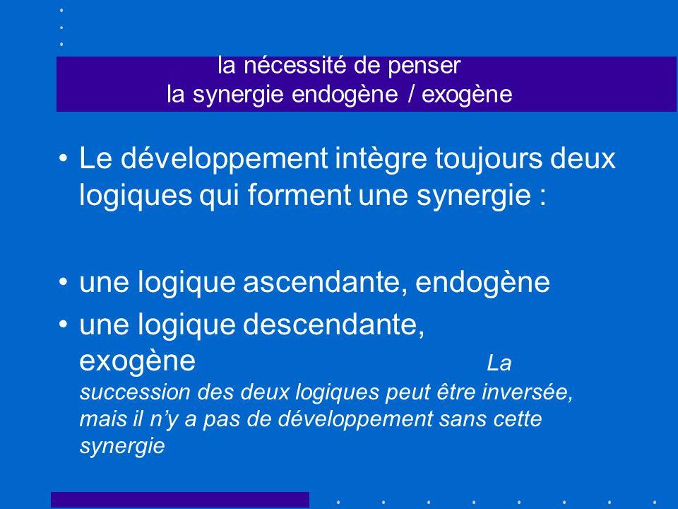 la nécessité de penser la synergie endogène / exogène