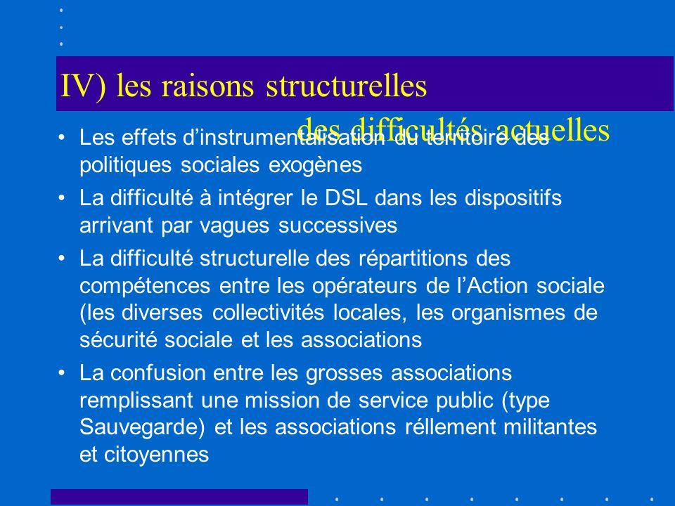 IV) les raisons structurelles des difficultés actuelles