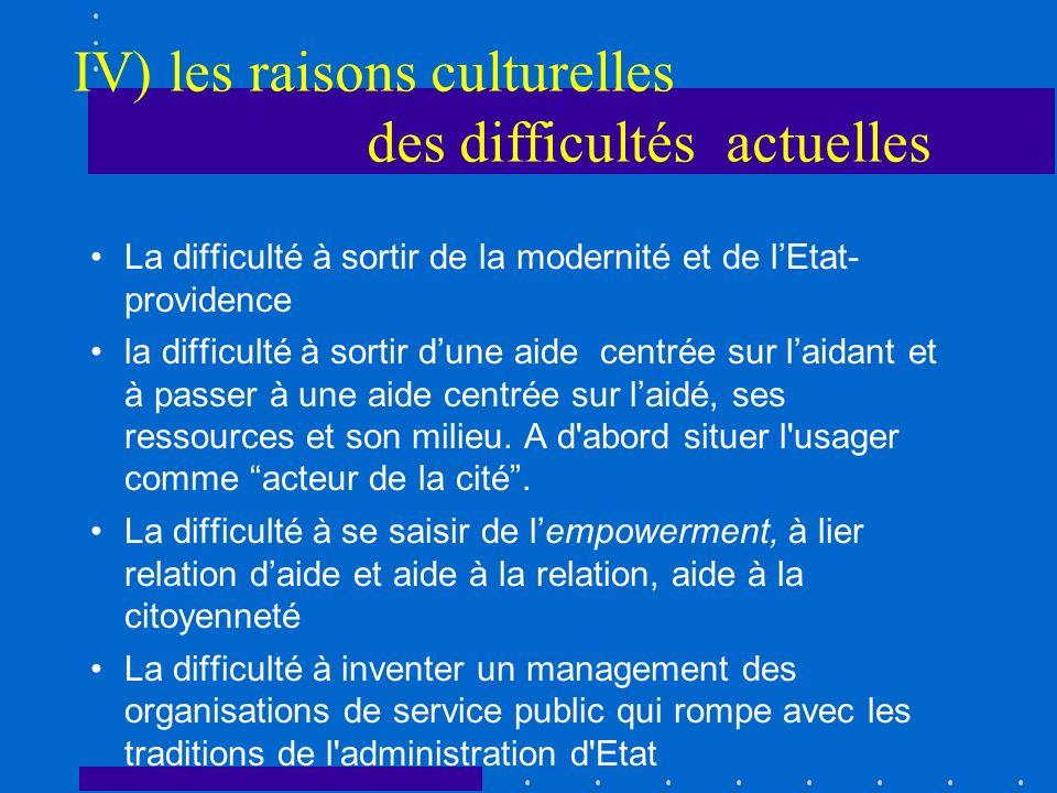 IV) les raisons culturelles des difficultés actuelles