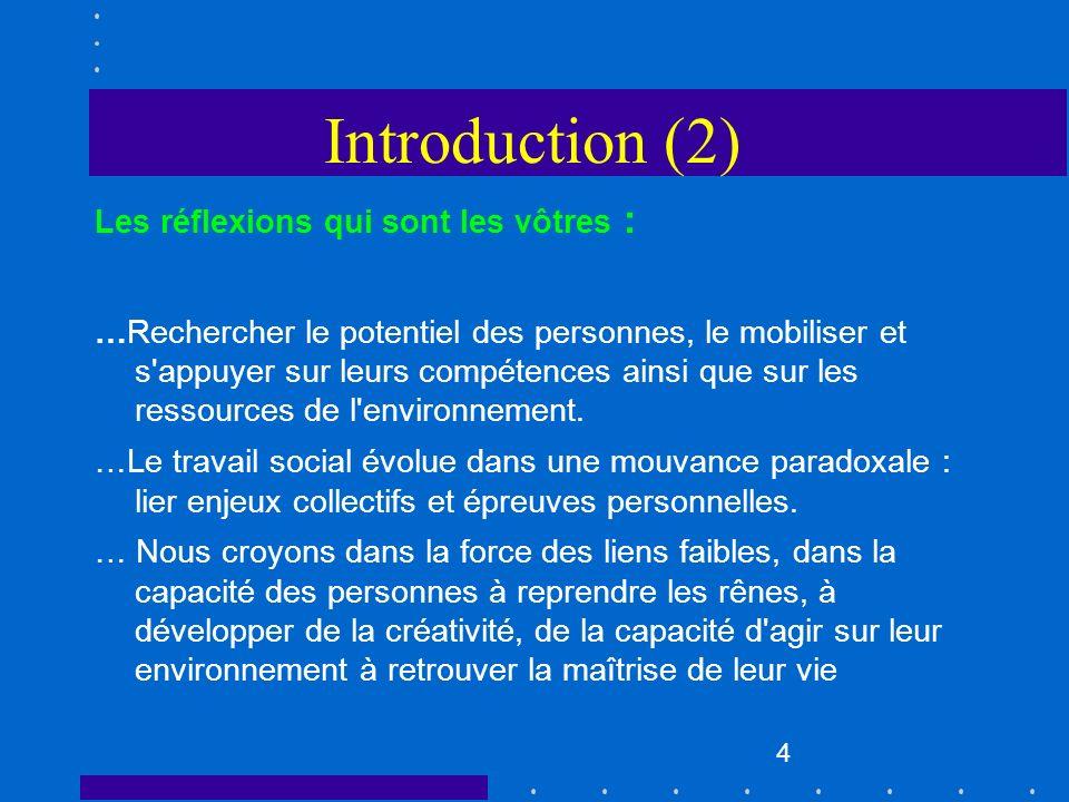 Introduction (2) Les réflexions qui sont les vôtres :