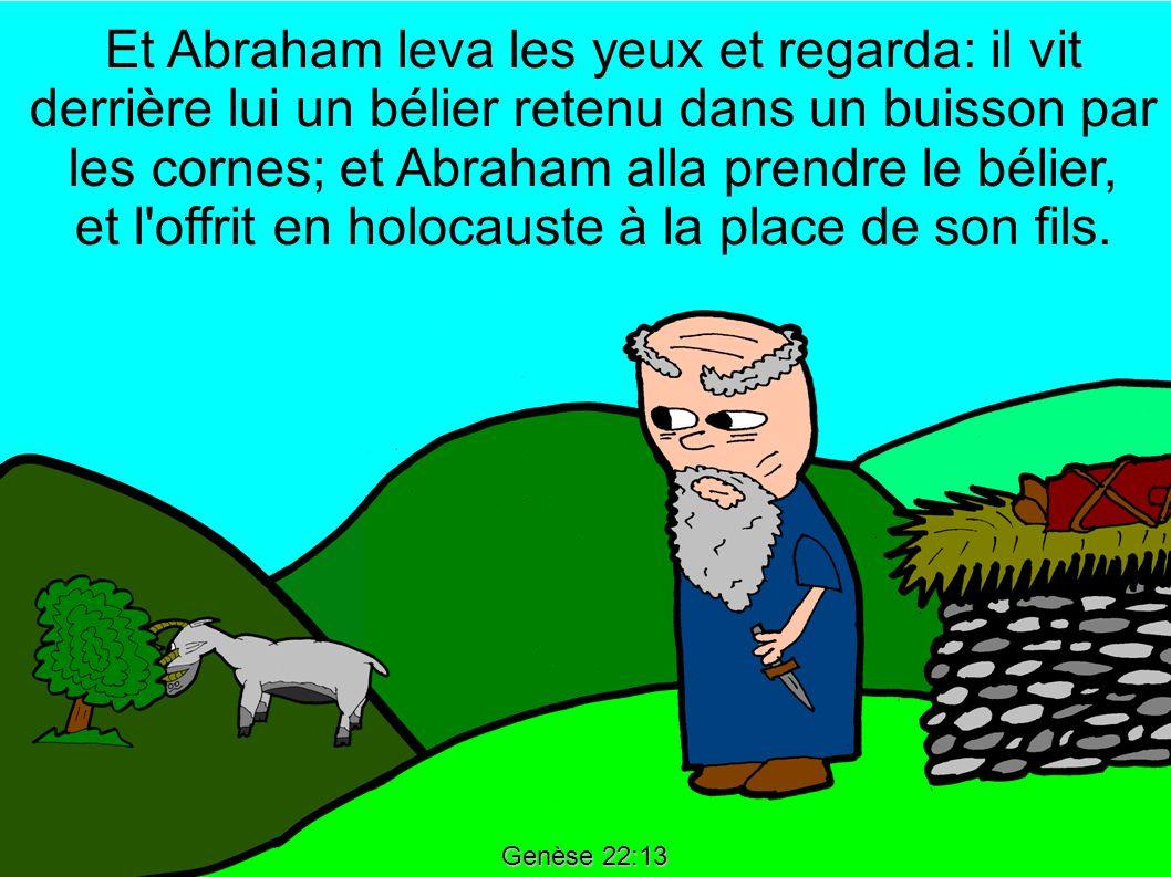 Et Abraham leva les yeux et regarda: il vit derrière lui un bélier retenu dans un buisson par les cornes; et Abraham alla prendre le bélier, et l offrit en holocauste à la place de son fils.