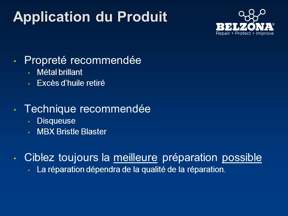 Application du Produit