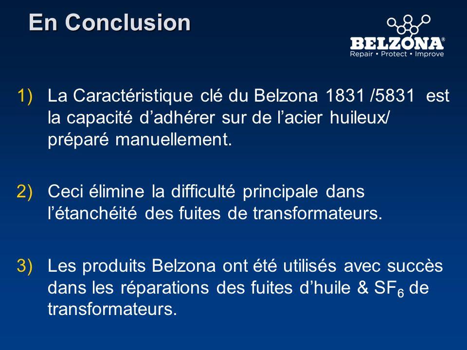 En Conclusion La Caractéristique clé du Belzona 1831 /5831 est la capacité d'adhérer sur de l'acier huileux/ préparé manuellement.