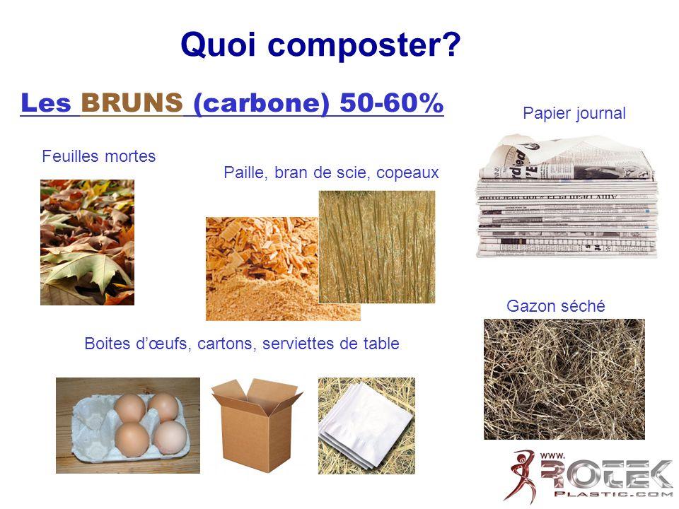 Quoi composter Les BRUNS (carbone) 50-60% Papier journal