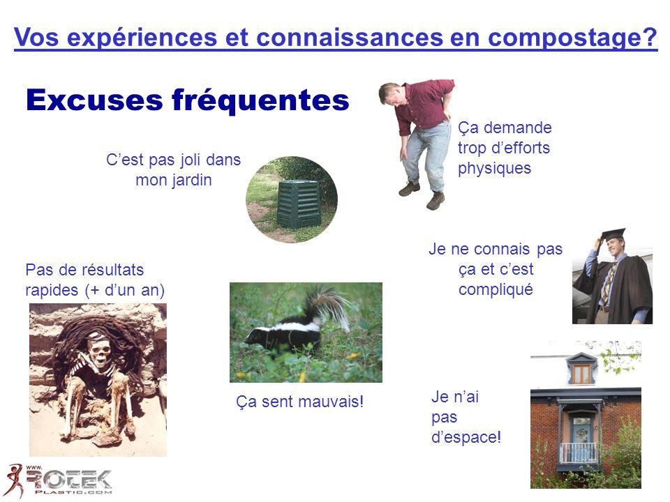 Excuses fréquentes Vos expériences et connaissances en compostage