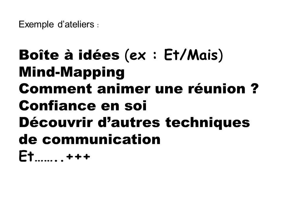 Boîte à idées (ex : Et/Mais) Mind-Mapping Comment animer une réunion