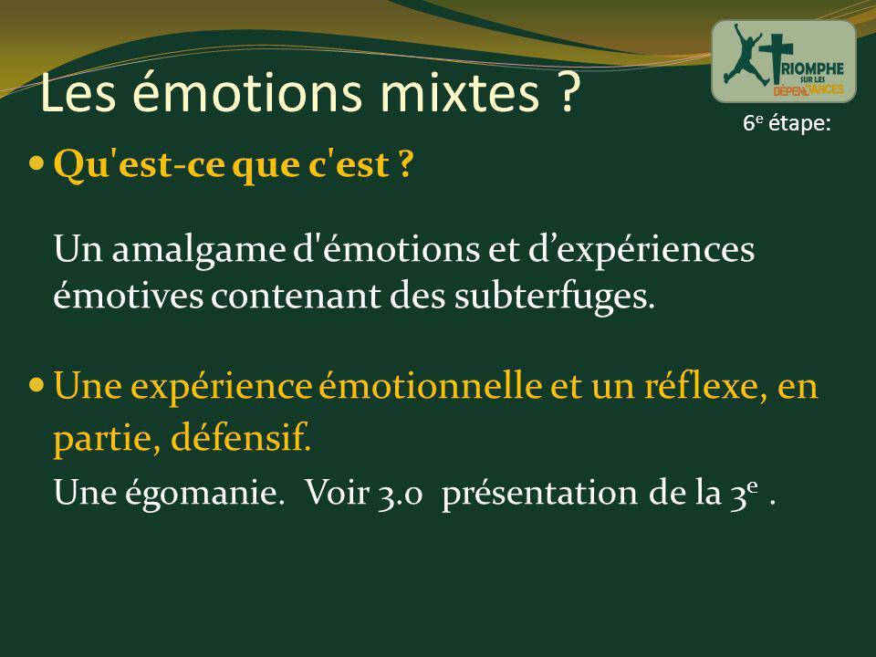 Les émotions mixtes 6e étape: Qu est-ce que c est Un amalgame d émotions et d'expériences émotives contenant des subterfuges.