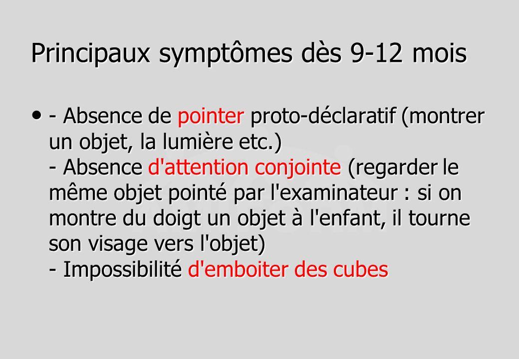 Principaux symptômes dès 9-12 mois