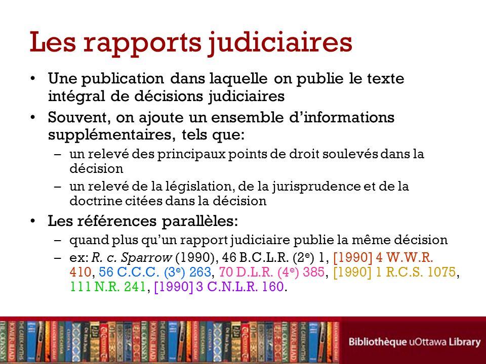 Les rapports judiciaires