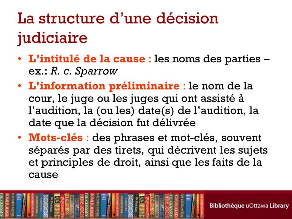 La structure d'une décision judiciaire