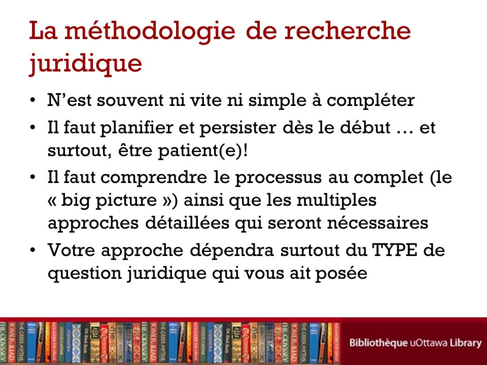 La méthodologie de recherche juridique