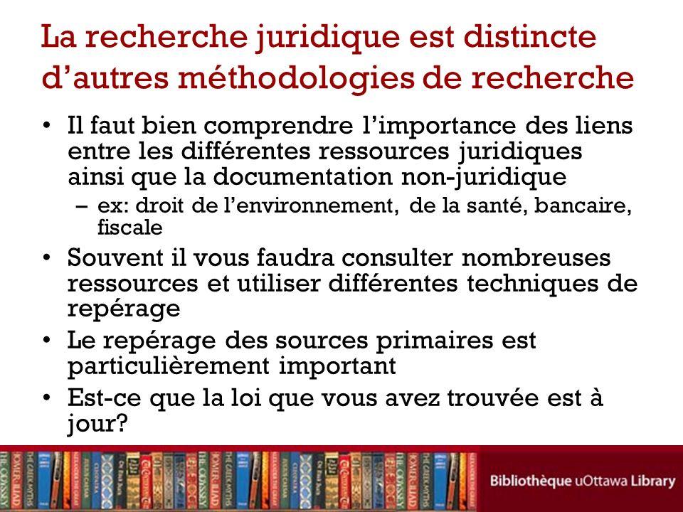 La recherche juridique est distincte d'autres méthodologies de recherche