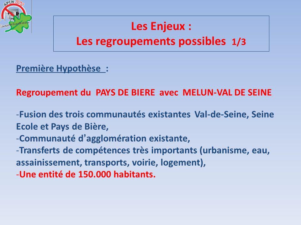 Les Enjeux : Les regroupements possibles 1/3