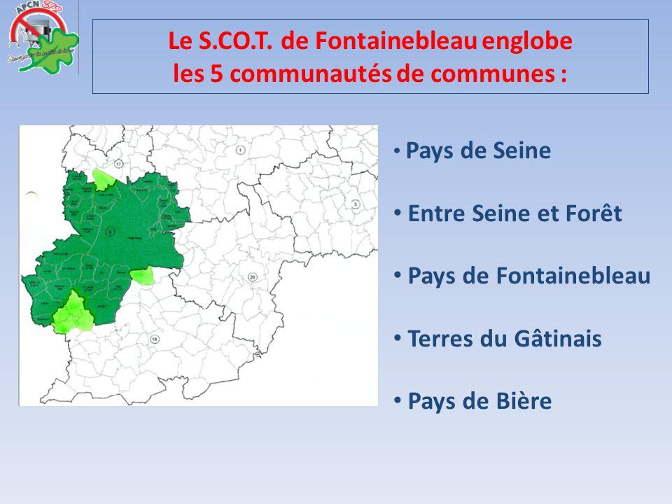 Le S.CO.T. de Fontainebleau englobe les 5 communautés de communes :