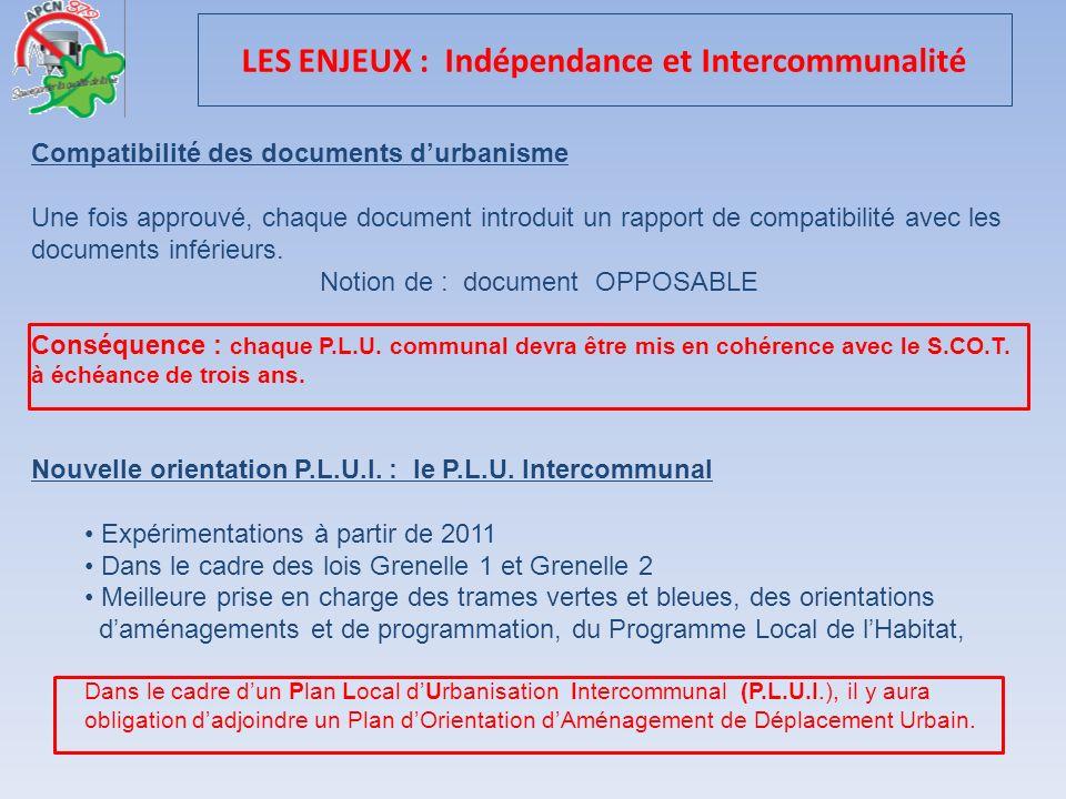 LES ENJEUX : Indépendance et Intercommunalité