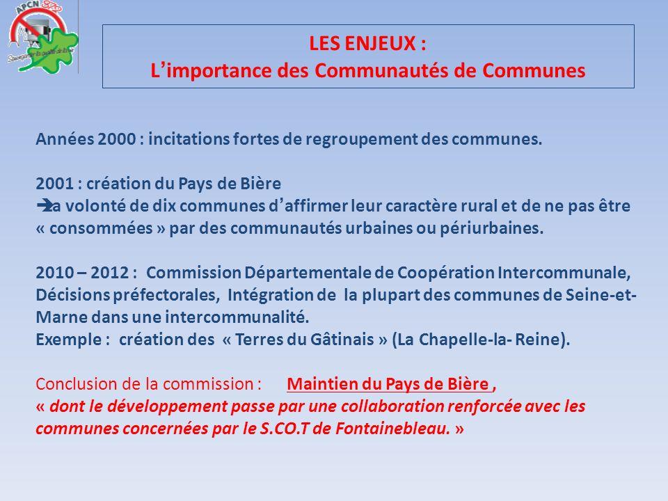 LES ENJEUX : L'importance des Communautés de Communes