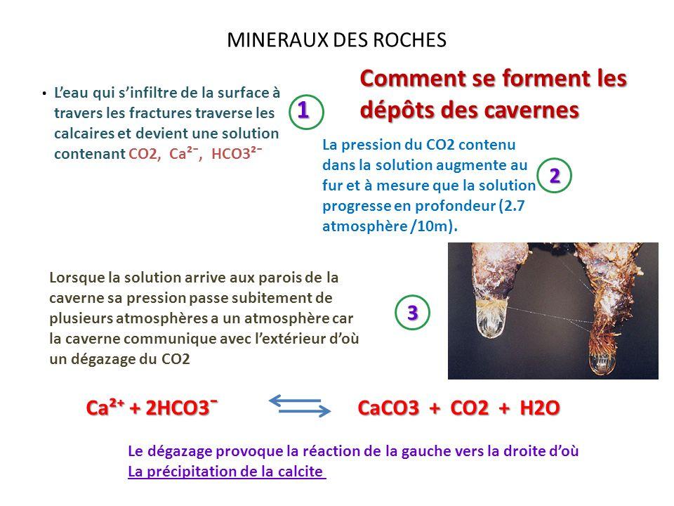 . Comment se forment les dépôts des cavernes 1 MINERAUX DES ROCHES 2 3