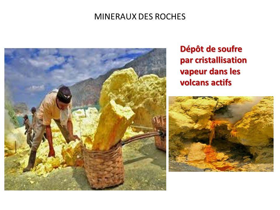 MINERAUX DES ROCHES Dépôt de soufre par cristallisation vapeur dans les volcans actifs