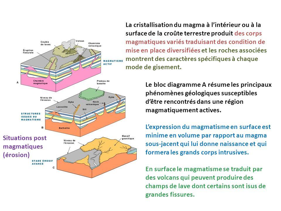 La cristallisation du magma à l'intérieur ou à la surface de la croûte terrestre produit des corps magmatiques variés traduisant des condition de mise en place diversifiées et les roches associées montrent des caractères spécifiques à chaque mode de gisement.