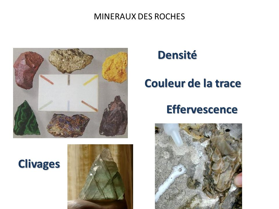 MINERAUX DES ROCHES Densité Couleur de la trace Effervescence Clivages