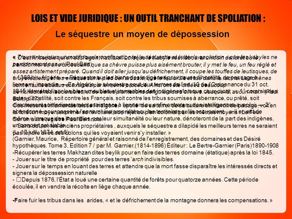 LOIS ET VIDE JURIDIQUE : UN OUTIL TRANCHANT DE SPOLIATION :
