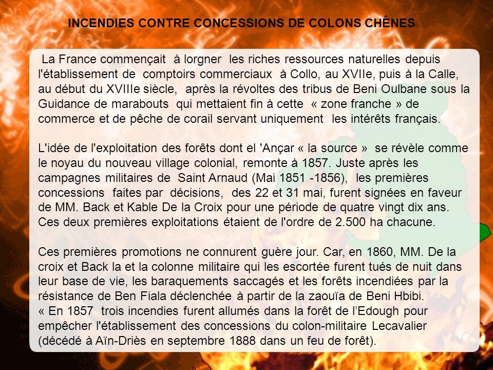 INCENDIES CONTRE CONCESSIONS DE COLONS CHÊNES