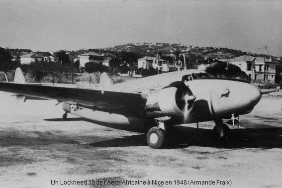 Un Lockheed 18 de l'Aéro-Africaine à Nice en 1948 (Armande Fraix)