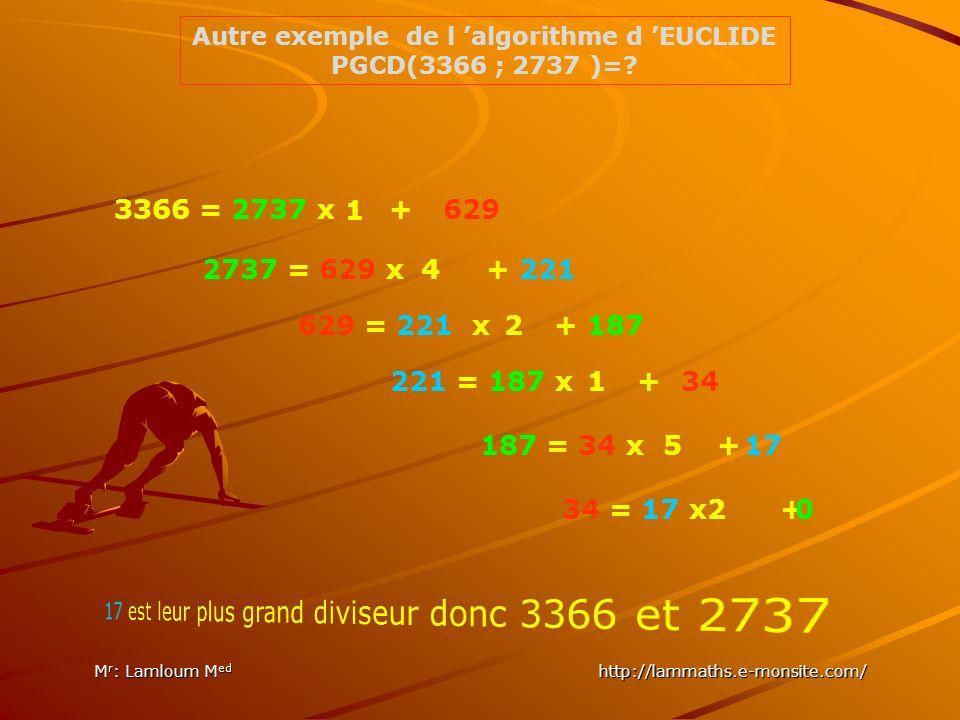 Autre exemple de l 'algorithme d 'EUCLIDE